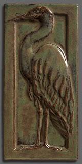 Tile Framed Great Egret sculpted art tile 4x 8 inches  Arts Craft Tile Egret