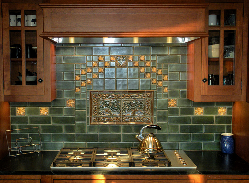 Retro kitchen tile backsplash