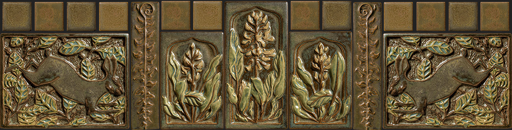 Arts and crafts tile fireplace surround roselawnlutheran for Arts and crafts tiles